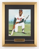 Hank Aaron Signed LE Milwaukee Braves 15x19 Custom Framed Print (PSA COA)