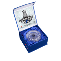 St. Louis Blues 2019 Stanley Cup Champions Crystal Hockey Puck - Filled with Ice from the 2019 Stanley Cup Final (Fanatics COA)