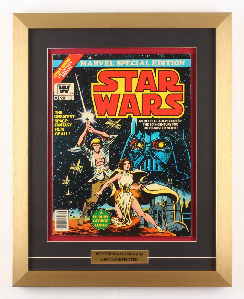 "Vintage 1977 ""Star Wars"" Issue #1 Marvel 16x20 Custom Framed Comic Book at PristineAuction.com"