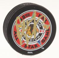 Al MacInnis Signed 1991 NHL All-Star Game Logo Hockey Puck (JSA COA)