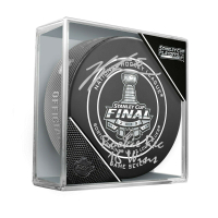 "Jordan Binnington Signed 2019 Stanley Cup Championship Logo Hockey Puck Inscribed ""Rookie Rec 16 Wins"" (Fanatics Hologram)"