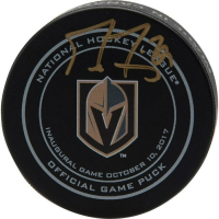 Marc-Andre Fleury Signed Las Vegas Golden Knights Inaugural Opening Night Hockey Puck (Fanatics Hologram)