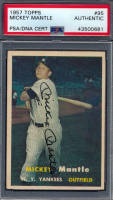 Mickey Mantle Signed 1957 Topps #95 (PSA Encapsulated)