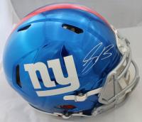Saquon Barkley Signed New York Giants Full-Size Authentic On-Field Chrome Speed Helmet (Panini & Steiner COA)