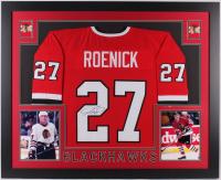 Jeremy Roenick Signed Chicago Blackhawks 35x43 Custom Framed Jersey (JSA Hologram)