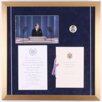 Ronald Reagan 22x22 Custom Framed Photo Display with 1981 Inauguration Invitation, Program, and Pin