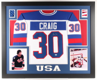 Jim Craig Signed 35x43 Custom Framed Jersey (JSA Hologram)