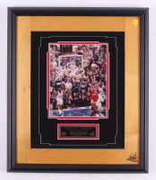 "Michael Jordan Signed ""Last Shot"" LE Chicago Bulls 19x22 Custom Framed Floor Display with Game-Used Final Floor Frame (UDA COA)"