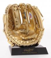 Nolan Ryan Signed Rawlings Mini Gold Baseball Glove (PSA COA)