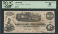 1862 $100 One Hundred Dollars Confederate States of America Richmond CSA Bank Note Bill (T-40) (PCGS 55)