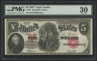 1907 $5 Five Dollars Legal Tender Large Bank Note (PMG 30) at PristineAuction.com
