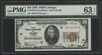 1929 $20 Twenty Dollars U.S. National Currency Bank Note - The Federal Reserve Bank of Chicago, Illinois (PMG 63) (EPQ)