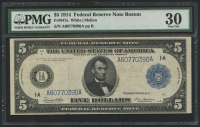 1914 $5 Five Dollars Federal Reserve Large Size Bank Note - Boston (PMG 30)
