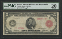 1914 $5 Five Dollars Federal Reserve Large Size Bank Note - Minneapolis (PMG 20)