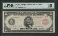 1914 $5 Five Dollars Federal Reserve Large Size Bank Note - St. Louis (PMG 25)