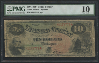 1869 $10 Ten Dollars Legal Tender Large (PMG 10)