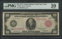 1914 $10 Ten Dollars Federal Reserve Large Size Bank Note - New York (PMG 20)