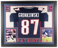 Rob Gronkowski Signed New England Patriots 35x43 Custom Framed Jersey (PSA COA)
