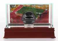 Willie Mosconi Signed #8 Pool Ball With LeRoy Neiman Art Display Case (PSA COA)