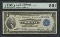 1918 $1 One Dollar U.S. National Currency Large Bank Note - FRBN - The Federal Reserve Bank of Boston, Massachusetts (PMG 50) (EPQ)
