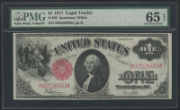1917 $1 One Dollar Legal Tender Large Bank Note (PMG 65) (EPQ)