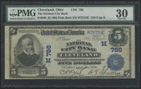 1902 $5 Five Dollars U.S. National Currency Large Size Bank Note - The National City Bank of Cleveland, Ohio (PMG 30)