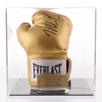 Mike Tyson Signed Golden Everlast Boxing Glove with Display Case (JSA COA)