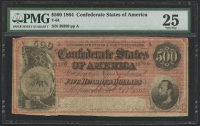 1864 $500 Five Hundred Dollars Confederate States of America Richmond CSA Bank Note (T-64) (PMG 25) at PristineAuction.com