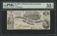 1862 $1 One Dollar Confederate States of America Richmond CSA Bank Note (T-44) (PMG 55) (EPQ)