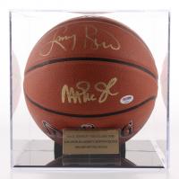 Magic Johnson & Larry Bird Signed NBA Basketball with Display Case (PSA COA)