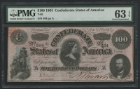 1864 $100 One Hundred Dollars Confederate States of America Richmond CSA Bank Note Bill (T-65) (PMG 63) (EPQ)