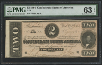 1864 $2 Two Dollars Confederate States of America Richmond CSA Bank Note (T-70) (PMG 63) (EPQ)