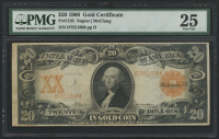 1906 $20 Twenty Dollars U.S. Gold Certificate Large Size Bank Note Bill (PMG 25)