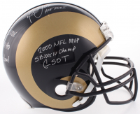 Marshall Faulk Signed St. Louis Rams Full-Size Authentic On-Field Helmet with (7) Inscriptions (JSA COA)