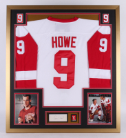 Gordie Howe Signed Detroit Red Wings 32x36 Custom Framed Cut Display with Jersey & Retirement Pin (PSA)