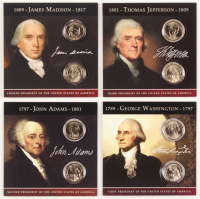 Complete Collection of (8) 2007 Presidential Dollars with George Washington, John Adams, Thomas Jefferson, & James Madison