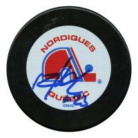 Milan Hejduk Signed Quebec Nordiques Logo Hockey Puck (JSA Hologram)