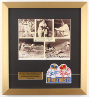 Joe DiMaggio Signed New York Yankees 15x17.5 Custom Framed Photo Display with Patch (PSA LOA)
