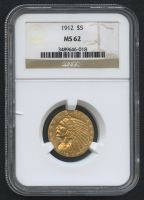 1912 $5 Five Dollars Liberty Head Half Eagle Gold Coin (NGC MS 62)