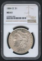 1884-CC $1 Morgan Silver Dollar (NGC MS 61) at PristineAuction.com