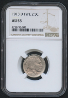 1913-D 5¢ Buffalo Nickel - Type 2 (NGC AU 55)