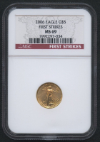 2006 $5 Five Dollars American Gold Eagle Saint-Gaudens 1/10 Oz Gold Coin - First Strikes (NGC MS 69)