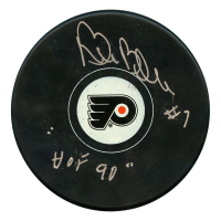"""Bill Barber Signed Philadelphia Flyers Logo Hockey Puck Inscribed """"HOF 90"""" (JSA Hologram)"""