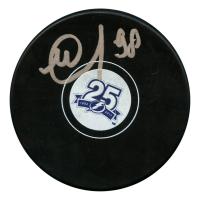 Mikhail Sergachev Signed Tampa Bay Lightning 25th Anniversary Logo Hockey Puck (JSA Hologram)