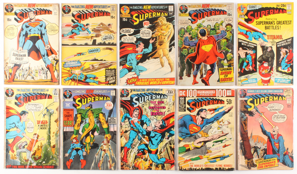"Lot of (10) 1971-72 ""Superman"" #235-#251 DC Comic Books at PristineAuction.com"