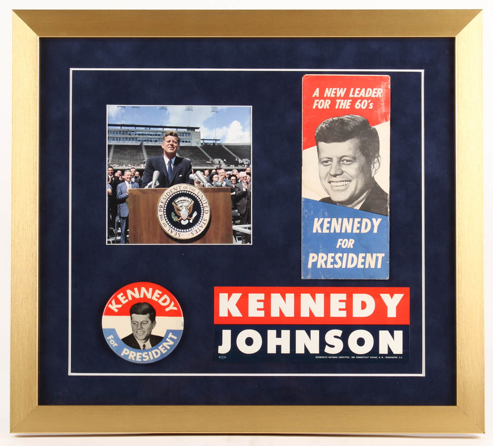 John F. Kennedy Presidential Campaign 18x20 Custom Framed Photo Display with (3) Campaign Items at PristineAuction.com