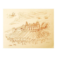 "Wayne Ensrud Signed ""Chateau de Rully, Burgundy"" 15x18 Pencil Original Artwork at PristineAuction.com"