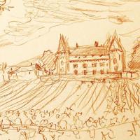 "Wayne Ensrud Signed ""Chateau de Rully, Burgundy"" 15x18 Pencil Original Artwork at PristineAuction.com"