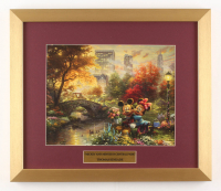 "Thomas Kinkade Walt Disney's ""Mickey & Minnie in Central Park"" 15.5x18 Custom Framed Print"
