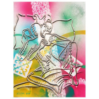 "Mark Kostabi Signed ""The Fabric Of Passion"" 30x22 Original Artwork at PristineAuction.com"